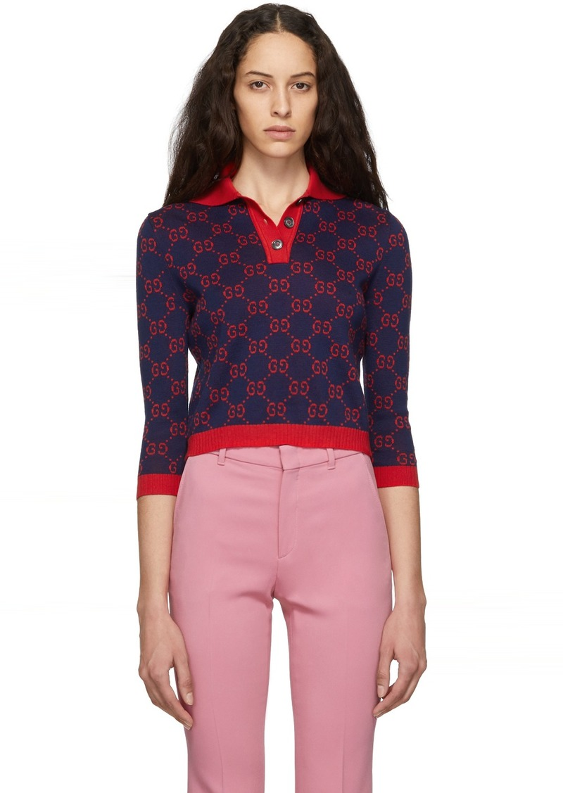 Gucci Navy GG Three-Quarter Sleeve Polo