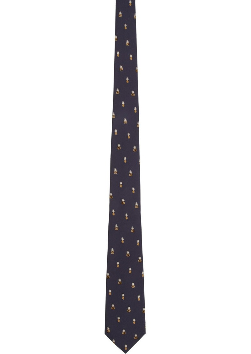 Gucci Navy Supreme Pineapple Tie