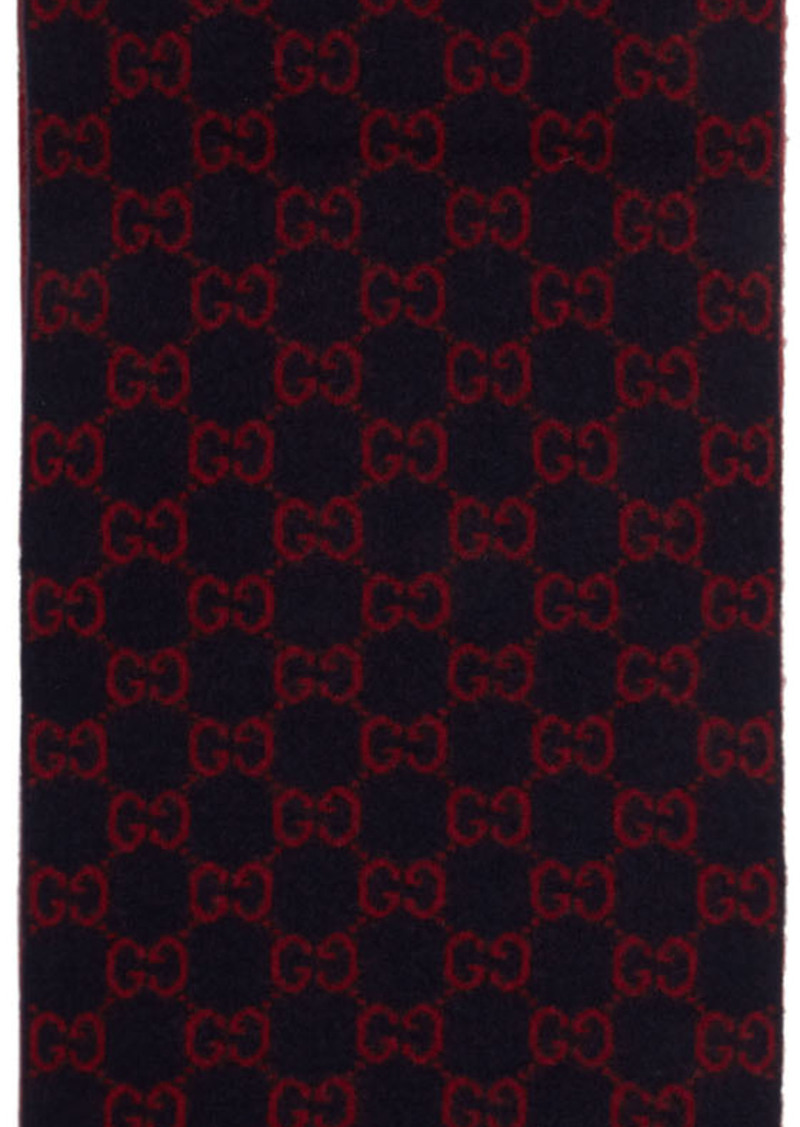 Gucci Navy Wool GG Scarf