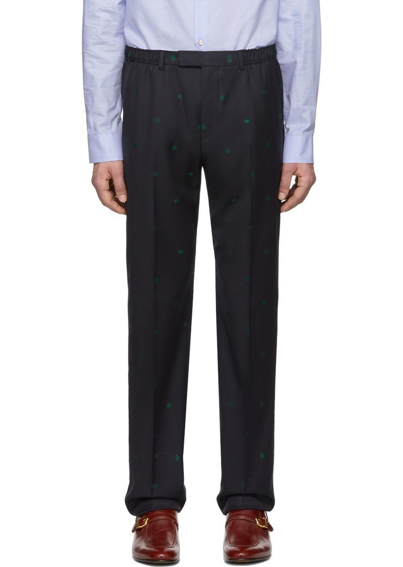Gucci Navy Wool Jacquard Symbols Trousers