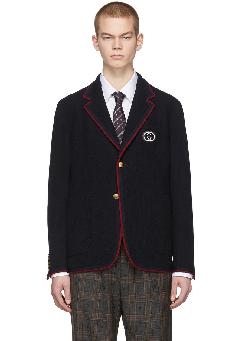 Gucci Navy Wool Palma Blazer