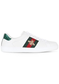 Gucci New Ace Bee Web Leather Sneakers W/ Ayer