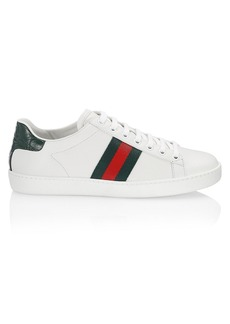 Gucci New Ace Leather Sneakers With Web Detail