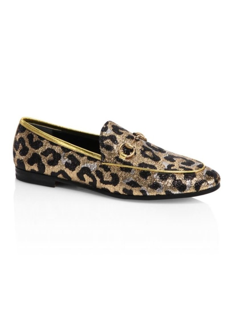 a9877a4025f Gucci New Jordaan Leopard-Print Lurex Jacquard Loafers