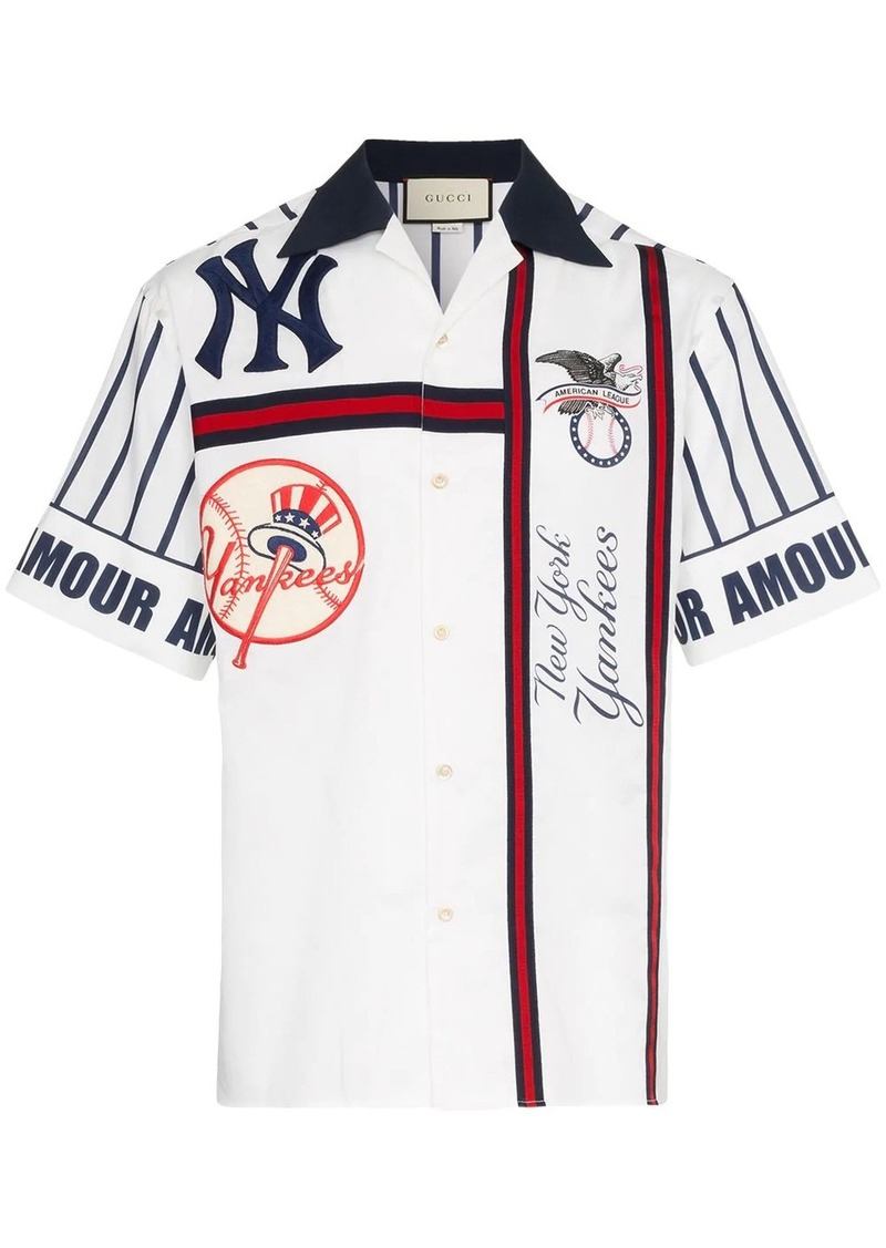Gucci NY Yankees embroidered cotton bowling shirt