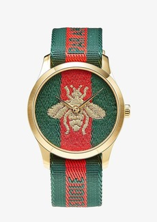 """Gucci Nylon Dial with Embroidered Strap with """"L'Aveugle Par Amour"""" Phrase Woven Stripe"""