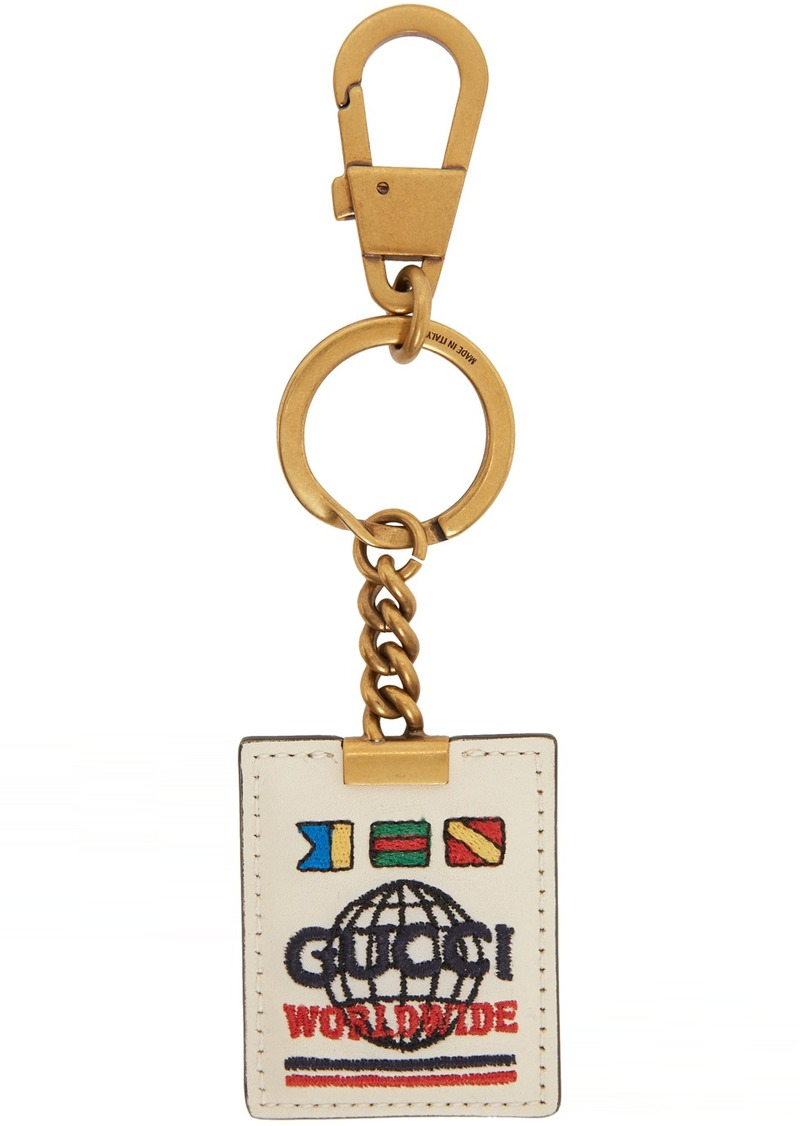 Off-White & Gold 'Gucci Worldwide' Keychain