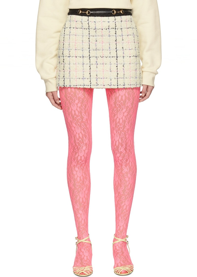 Gucci Off-White & Pink Miniskirt