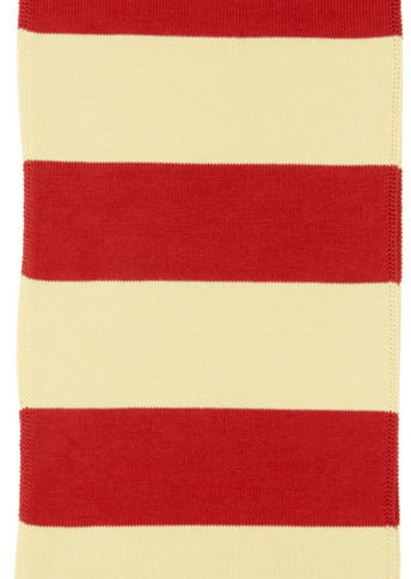 Gucci Off-White & Red Interlocking G Cotton Scarf