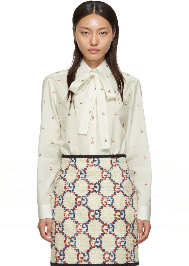 Gucci Off-White Bow Cherries Shirt