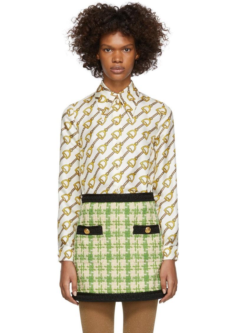 Gucci Off-White Chain Printed Silk Shirt