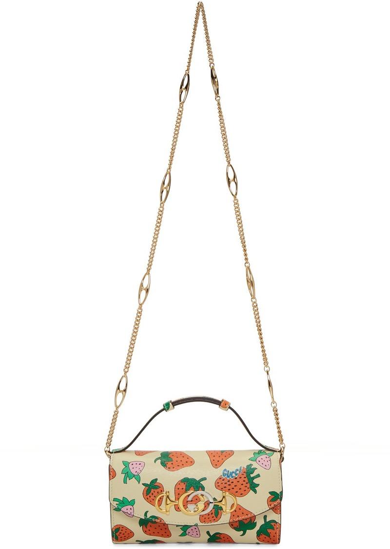 Gucci Off-White Mini Zumi Strawberry Shoulder Bag