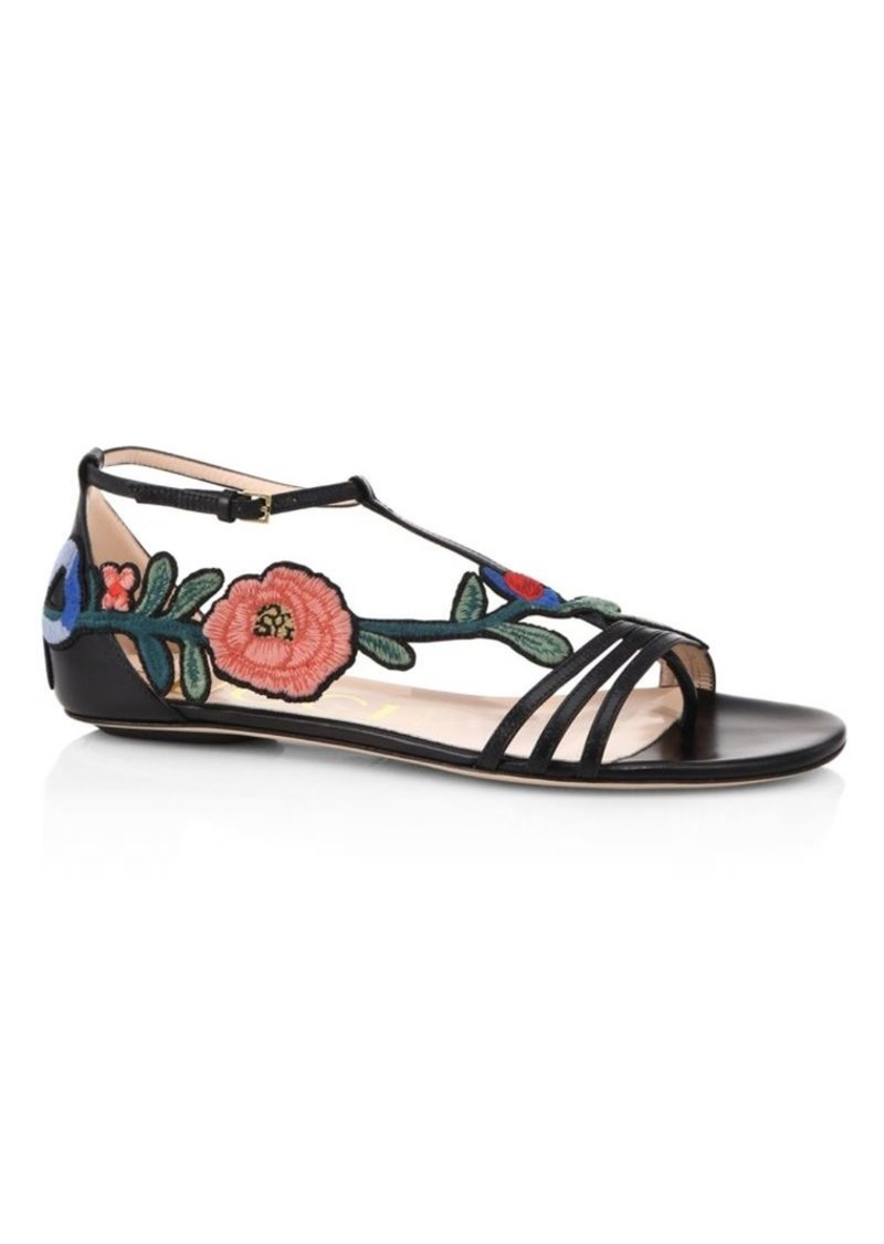 e74fc907a27 Gucci Ophelia Floral-Embroidered Flat Sandals | Shoes