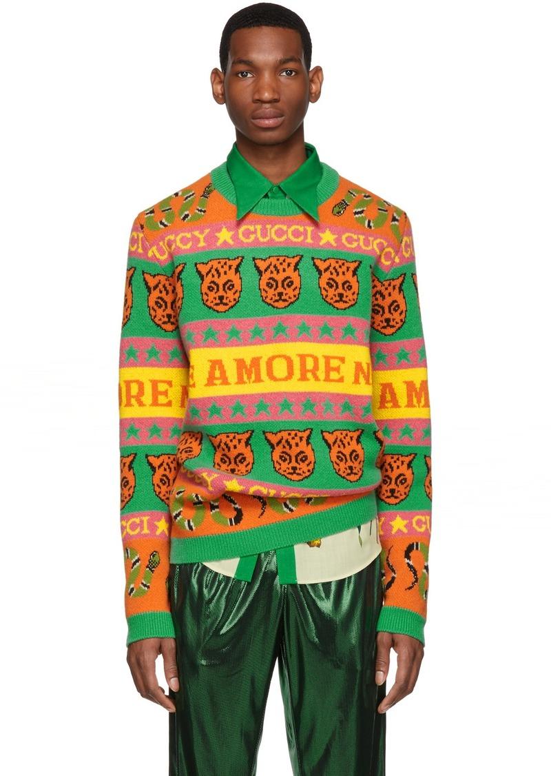 Gucci Orange & Green Wool Jacquard Symbols Sweater