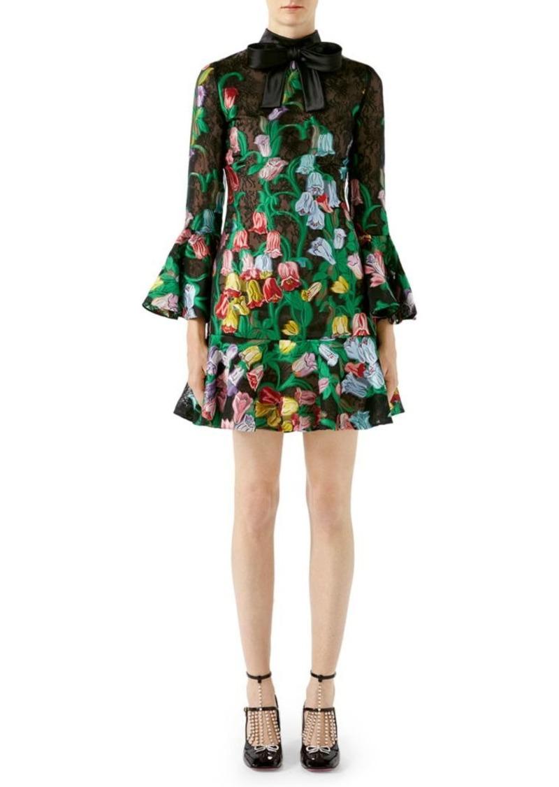 6d2ac68ba40 SALE! Gucci Organza Floral Bell-Sleeve Dress