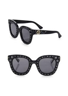 Gucci Oversize Crystal Star Mirrored Square Sunglasses
