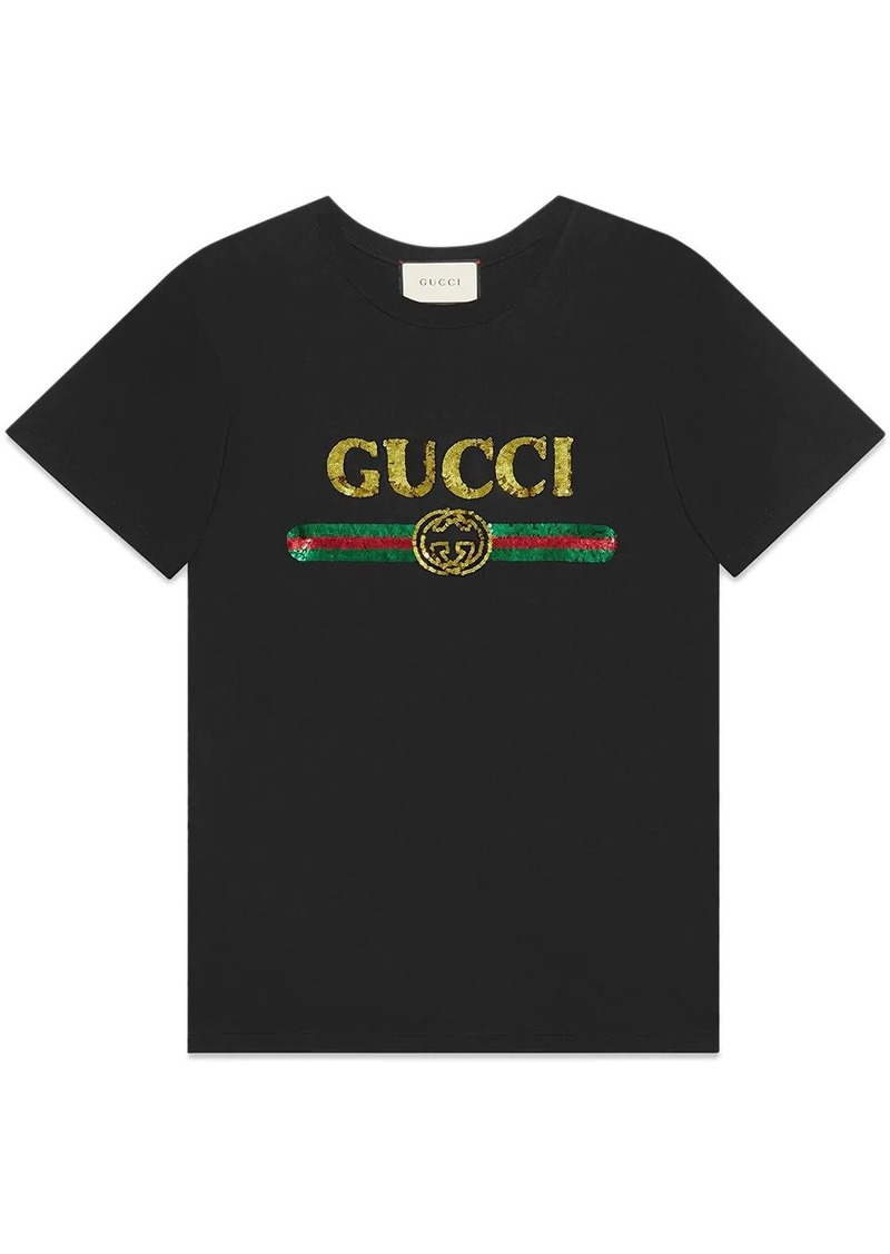 Oversize T-shirt with sequin Gucci logo