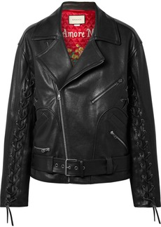 Gucci Oversized Lace-up Painted Leather Biker Jacket
