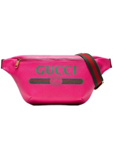 Gucci pink fake logo print leather cross-body bag