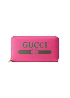 Gucci Pink Logo leather zip around wallet