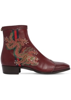 Gucci Plata Embroidered Leather Ankle Boots