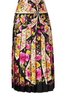 Gucci Pleated Floral-print Silk-twill Midi Skirt