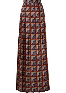 Gucci Pleated Printed Silk-twill Maxi Skirt