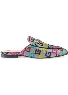 Gucci Princetown velvet G lurex loafers