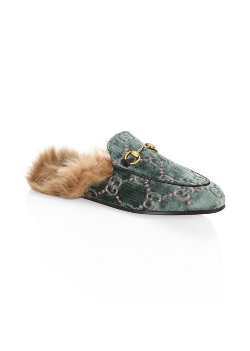 4d532a3e542 Gucci Princetown GG Velvet Slippers