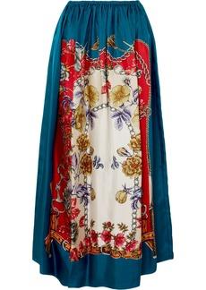 Gucci Printed Silk-twill Midi Skirt