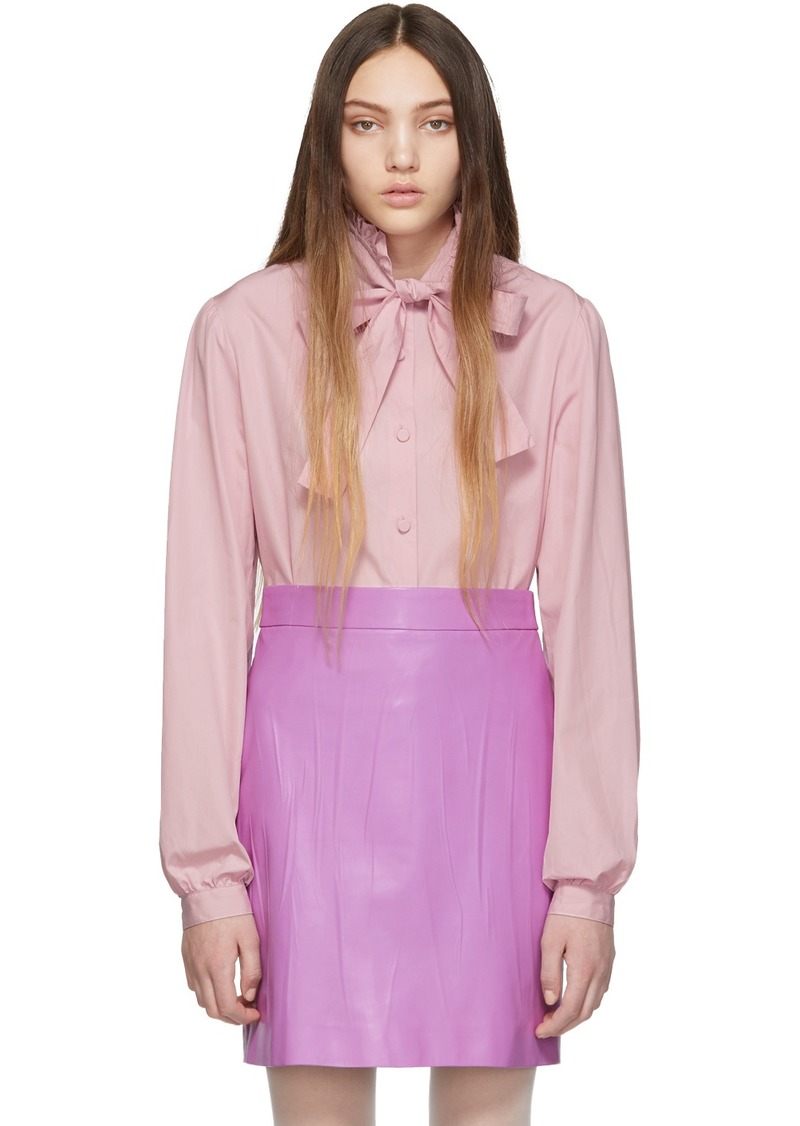 Gucci Purple Poplin Bow Shirt