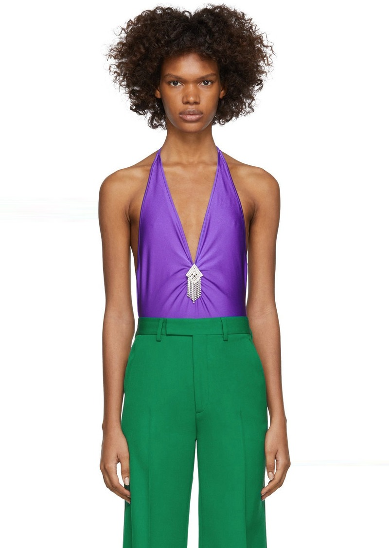 Gucci Purple V-Neck Bodysuit