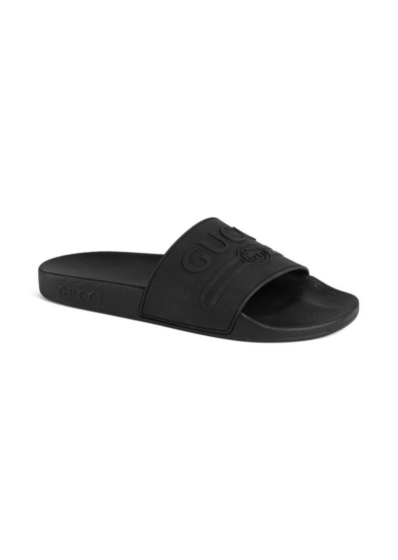 582ac584784 Gucci Gucci Logo Rubber Slide Sandal