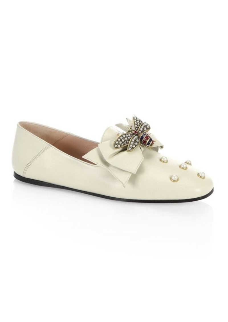 9aa021a5af9 Gucci Queen Margaret Bee Leather Flats