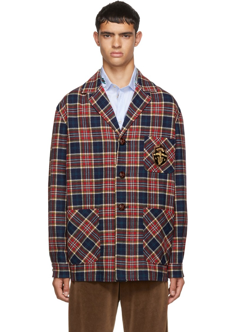 Gucci Red & Blue Check Wool Crest Jacket