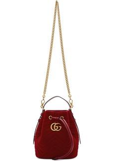 Gucci Red Velvet GG Marmont 2.0 Bucket Bag