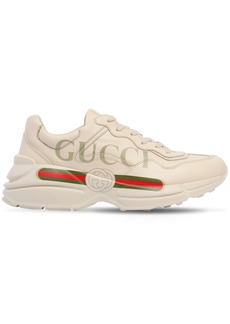 Rhyton Gucci Print Leather Sneakers