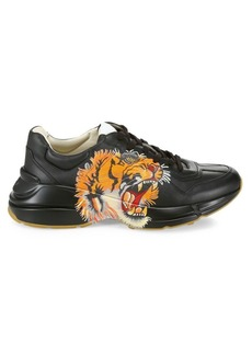 Gucci Rhyton Tiger Print Leather Sneakers