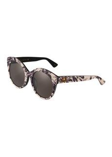 Gucci Round Acetate Floral Sunglasses