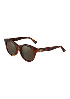 Gucci Round Acetate Tortoiseshell Sunglasses