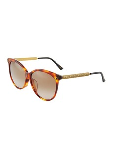 Gucci Round Acetate/Metal Tiger Sunglasses