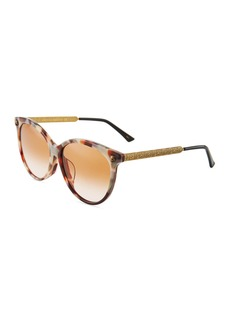 Gucci Round Acetate/Metal Tiger Sunglasses with Gradient Lenses