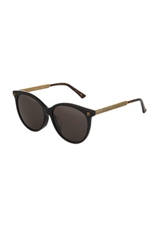 Gucci Round Acetate/Metal Tiger Sunglasses with Solid Lenses