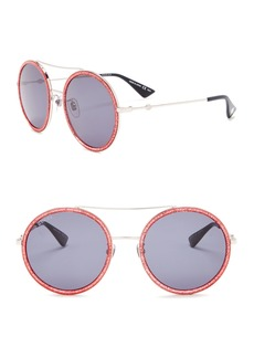 Gucci 56mm Round Aviator Sunglasses