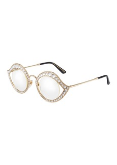 Gucci Round Crystal/Metal Sunglasses