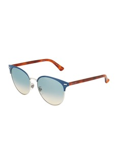 Gucci Round Half-Rim Metal Sunglasses