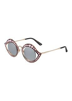 Gucci Round Metal Crystal-Trim Sunglasses
