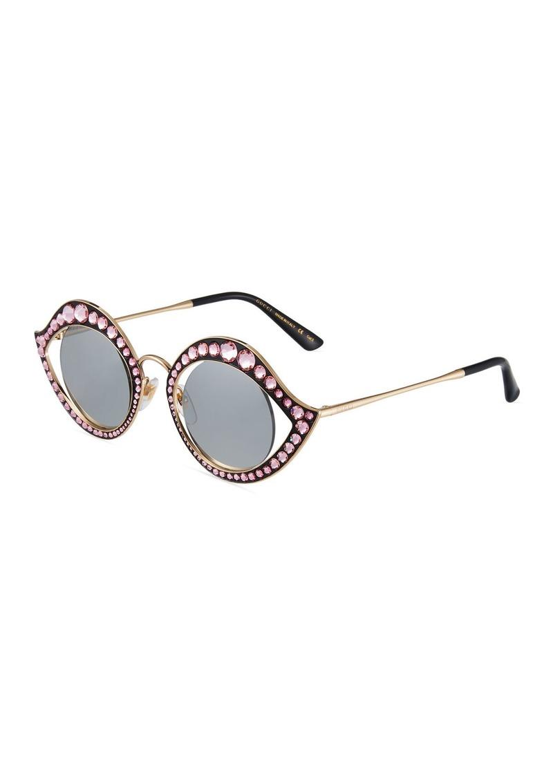 2a26648e1 Gucci Round Metal Crystal-Trim Sunglasses | Sunglasses