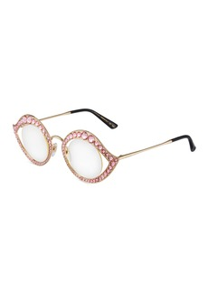 Gucci Round Metal Crystal-Trim Sunglasses