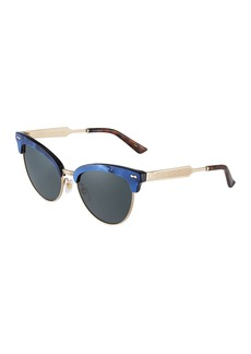 Gucci Round Metal/Acetate Half-Rim Sunglasses